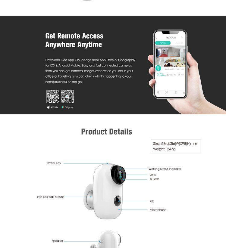 Battery Powered WIFI IP camera IPC-A3B--Joney CCTV Camera